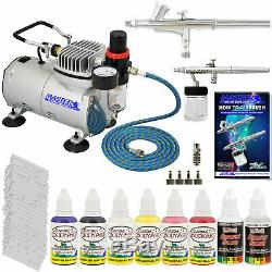 2 AIRBRUSH NAIL SYSTEM KIT with 6 Paint Color Set, Air Compressor Nail Art Stencil