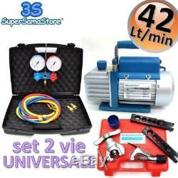 3S AIR CONDITIONING Vacuum PUMP + MANIFOLD SET R32 R410A R134A FLARING TOOL KIT