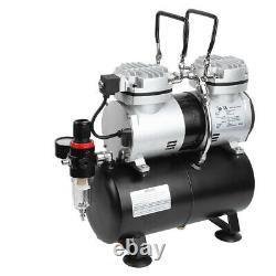 Airbrush Compressor Kit Dual Action Air Brush Sprayer Set Tattoo Double Cylinder