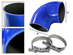 BLUE Silicone 90 Degree Elbow Coupler Hose 3 76 mm + T-Bolt Clamps