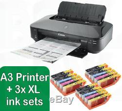Canon PIXMA iX6850 A3 Wireless Wi-Fi Office A3+ Air Printer + 3 Set of XL Inks