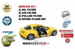 FOR MAZDA RX8 1.3 2003-2008 4x SPARK PLUGS & OIL AIR POLLEN FILTER SERVICE SET