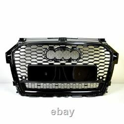 Front Grill Look RS1 Black For Audi A1 8X 2015-19 Honeycomb Grill Bumper