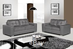 Grey 3 + 2 Seater Set of Leather Aire HARVEY Sofas with Black Feet Super Comfy