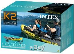 INTEX Inflatable Kayak 2 Person Set with Aluminum Oars + High Output Air Pump