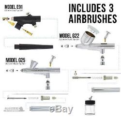 Master 3 Airbrush, Air Compressor & Hose Kit, 6 Primary Colors Acrylic Paint Set