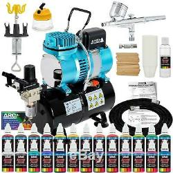 Master Gravity Airbrush Air Tank Compressor Kit with 24 Color Acrylic Paint Set