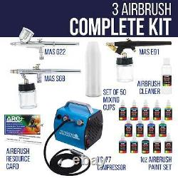 Pro 3 Airbrush System Kit Air Compressor 12 Color Paint Set Hobby Art