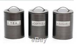 Retro Set Of 3 Tea Coffee Sugar Canisters Kitchen Storage Pot Jars Air Tight LID
