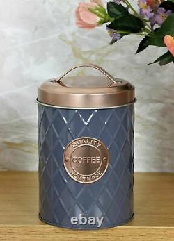 Set Of 3 Tea Coffee Sugar Canisters Copper Grey Kitchen Storage Jars Air Tight
