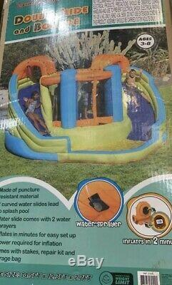 Sportspower Inflatable Double Water Slide Bounce House Kids Play Set Air Blower