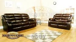 Trio 2 And 3 Seat Recliner Sofa Set Brown Leather Aire
