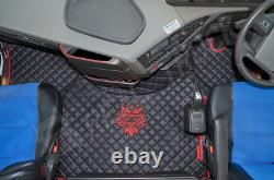 Truck Eco Leather Floor Mats Set- Black Fit Volvo Fh 4 2013+ Twin Air Seats