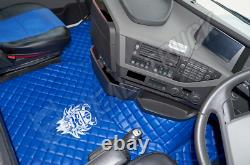 Truck Eco Leather Floor Mats Set- Blue Fit Volvo Fh 4 2013+ Twin Air Seats