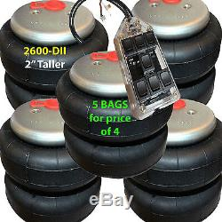 V set of 5 air ride springs lift bags 2 Taller 2600 D-II 1/2 FITs 7-Switch