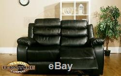 Vista 2 & 3 Seat Reclining Sofa Set Black Leather Air Brand New High Quality