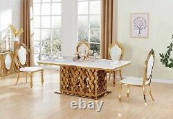 White Marble Dining Table Set and 6 Air Leather Chairs Kitchen Furniture