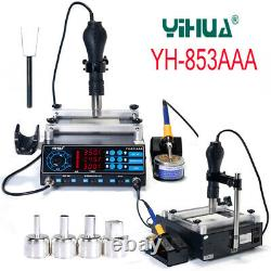 YIHUA 853AAA BGA Rework Soldering Station Preheating Hot Air Gun Solder Iron Set